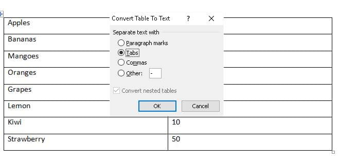 Convert table to text