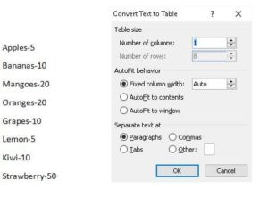 MS Word table example