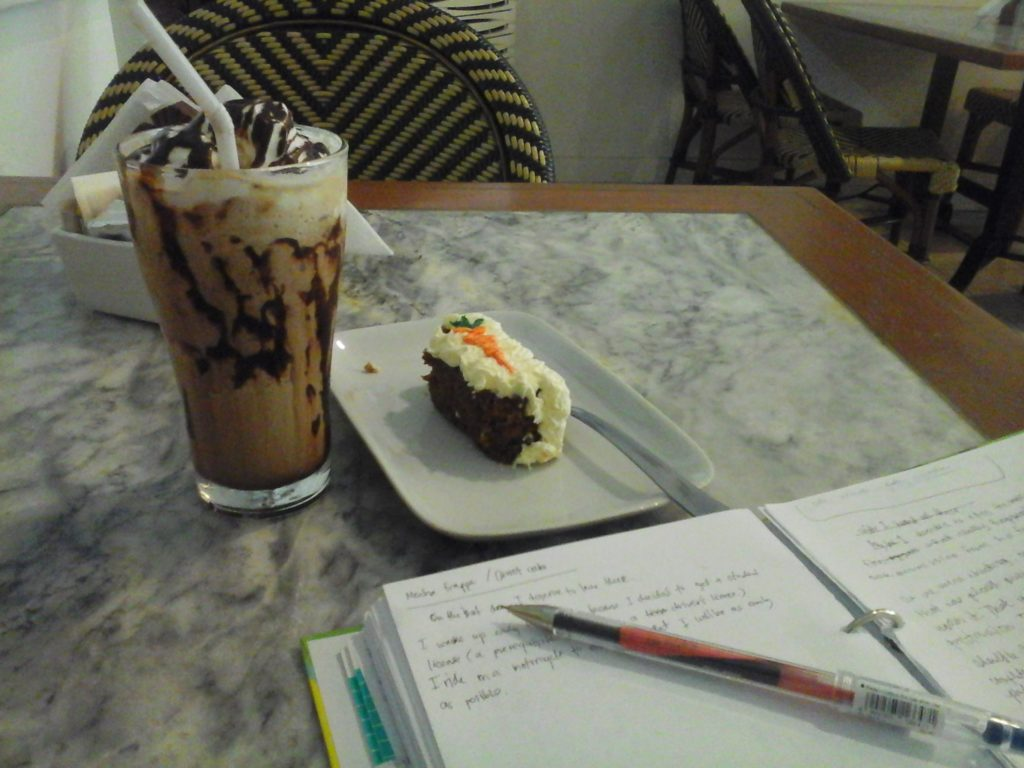 mocha frappe and carrot cake at cafe de france