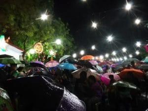 Church goers on rainy day
